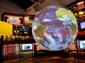 The 360 degree projection surface adds a new level of display for the gallery.